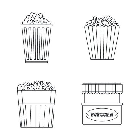 Popcorn cinema box striped icons set. Outline illustration of 4 popcorn cinema box striped vector icons for web