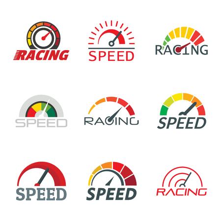 Geschwindigkeitsmesser-Füllstandsanzeige eingestellt. Flache Darstellung von 9 Tacho-Füllstandsanzeigevektor für Web Vektorgrafik