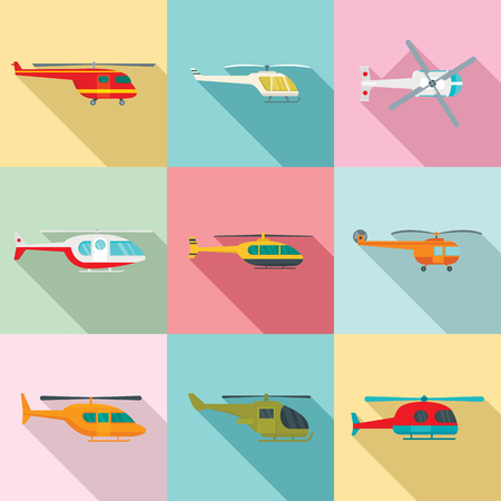 Helicopter military aircraft chopper icons set. Flat illustration of 9 helicopter military aircraft chopper vector icons for web