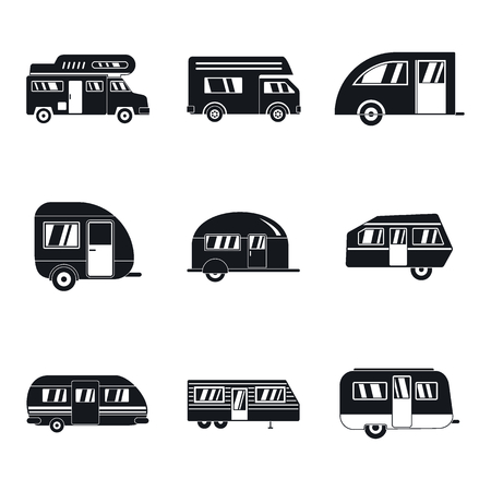 Motorhome car trailer camp house icons set. Simple illustration of 9 motorhome car trailer camp house vector icons for web Illustration