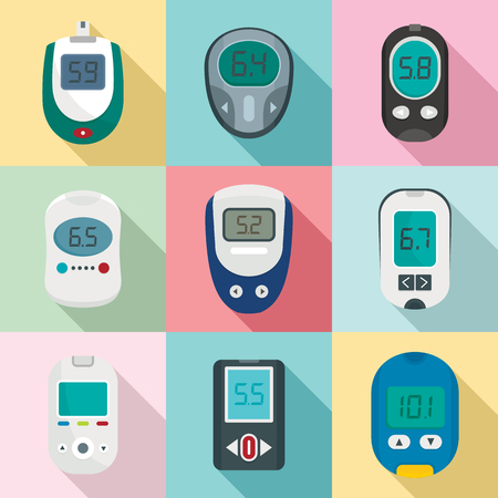 Glucose meter sugar blood test device icons set. Flat illustration of 9 glucose meter sugar blood test device vector icons for web