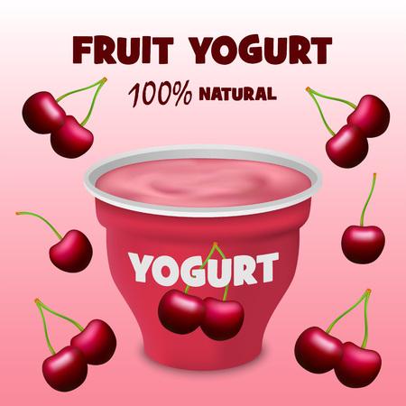 Cherry fruit yogurt concept background. Realistic illustration of cherry fruit yogurt vector concept background for web design Ilustração