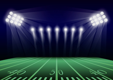 American football field concept background. Realistic illustration of american football field vector concept background for web design Ilustração