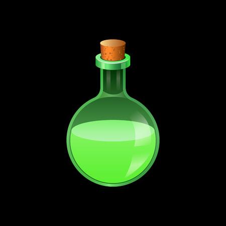 Grünes Glaskolbensymbol. Karikatur der grünen Glasflaschenvektorikone für Webdesign lokalisiert auf weißem Hintergrund