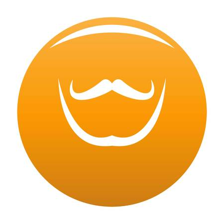 Mustache and beard icon. Simple illustration of mustache and beard vector icon for any design orange