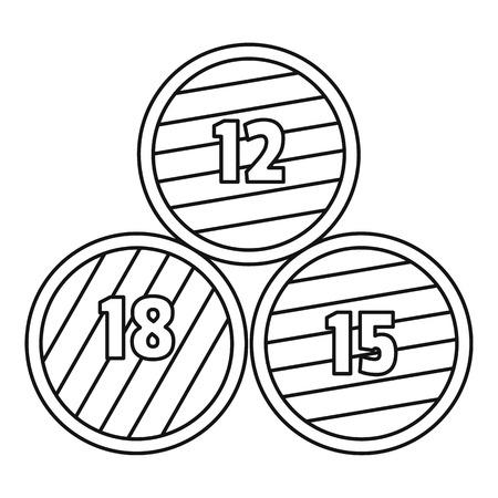 Icono de barril de madera de grupo. Ilustración de esquema de barril de madera de grupo icono vectoriales para diseño web aislado sobre fondo blanco.