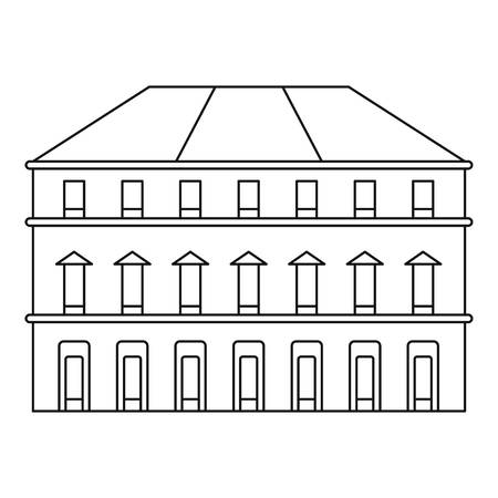 Building icon. Outline illustration of building vector icon for web design isolated on white background Ilustração