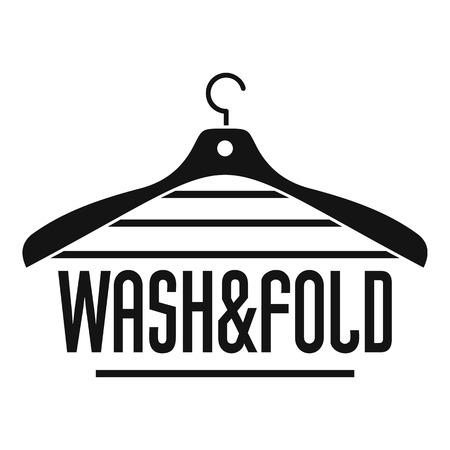 Lavado de ropa y logotipo de suspensión plegable. Ilustración simple de lavado de ropa y colgador de plegado vector logo para diseño web aislado sobre fondo blanco.