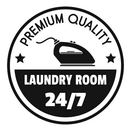 Waschküche 24 Stunden Logo. Einfache Illustration des 24-Stunden-Vektorlogos des Waschraums für Webdesign lokalisiert auf weißem Hintergrund