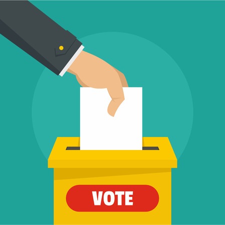 Hand at election box background. Flat illustration of hand at election box vector background for web design