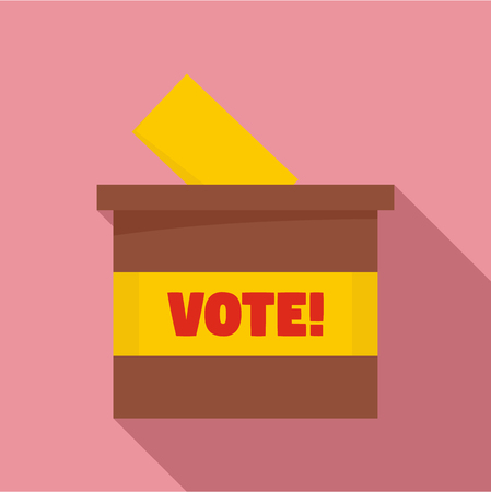 Wood vote box icon. Flat illustration of wood vote box vector icon for web design