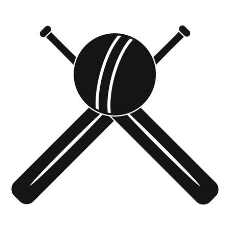 Cricket ball and bats logo, simple style