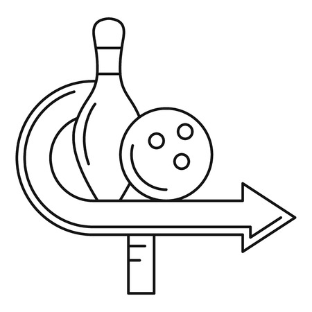 Bowling pin and ball icon, outline style