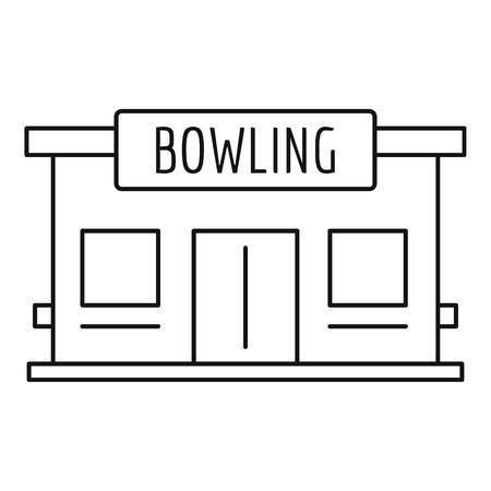 Icône de la maison de bowling, style de contour Vecteurs