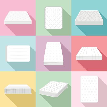 Mattress squab bedding icons set, flat style
