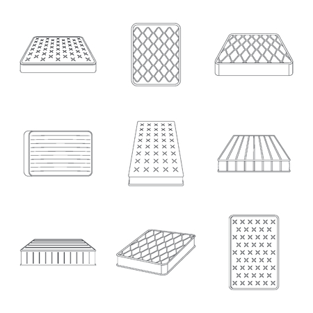 Mattress squab bedding icons set, outline style