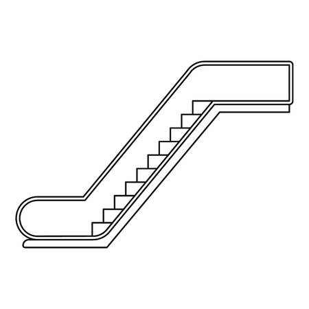 Glass escalator icon. Outline glass escalator vector icon for web design isolated on white background