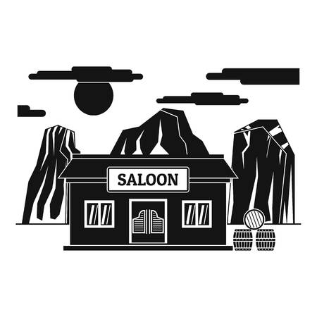 Western saloon icon. Simple illustration of western saloon vector icon for web design isolated on white background Ilustracja