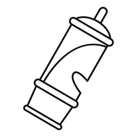 Retro whistle icon, outline style Illustration