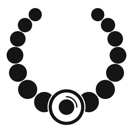 Gemstone fashion necklace icon, simple style