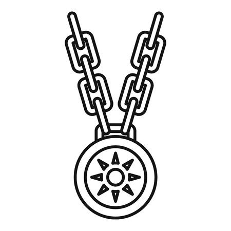 Icône de médaillon de collier, style de contour