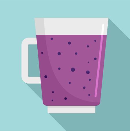 Blueberry smoothie icon. Flat illustration of blueberry smoothie vector icon for web design