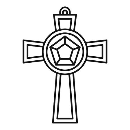 Gemstone cross icon, outline style