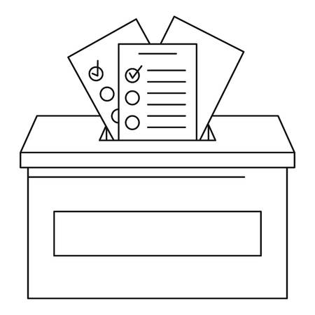 Ballot box icon. Outline ballot box vector icon for web design isolated on white background