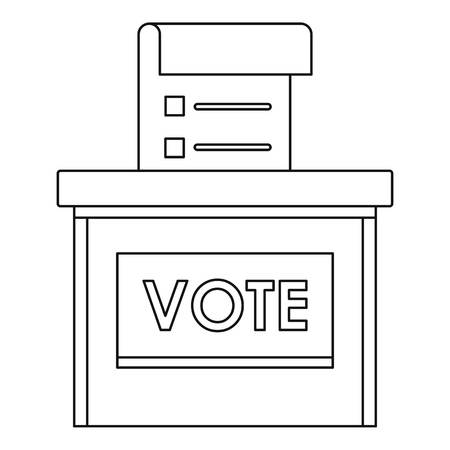 Vote election box icon. Outline vote election box vector icon for web design isolated on white background Vectores