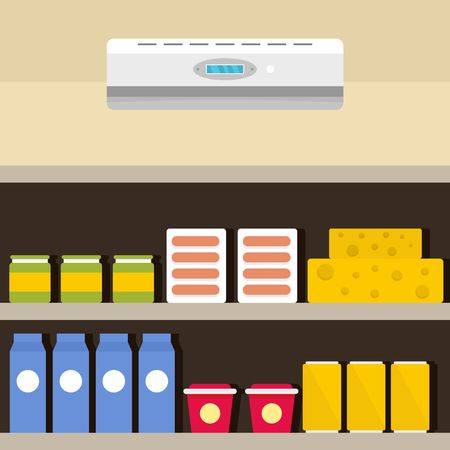 Conditioner at shop background. Flat illustration of conditioner at shop vector background for web design