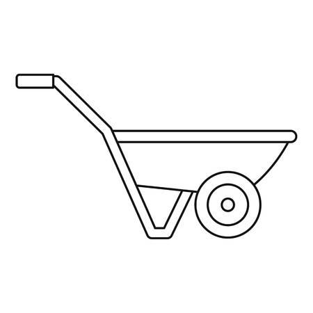 Icona di una ruota di camion di mano. Profilo del carrello a mano una ruota icona vettore per il web design isolato su sfondo bianco