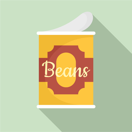 Beans tin can icon. Flat illustration of beans tin can vector icon for web design