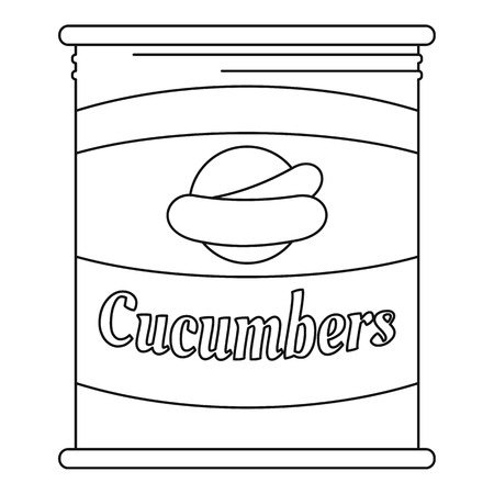 Cucumbers tin can icon. Outline cucumbers tin can vector icon for web design isolated on white background
