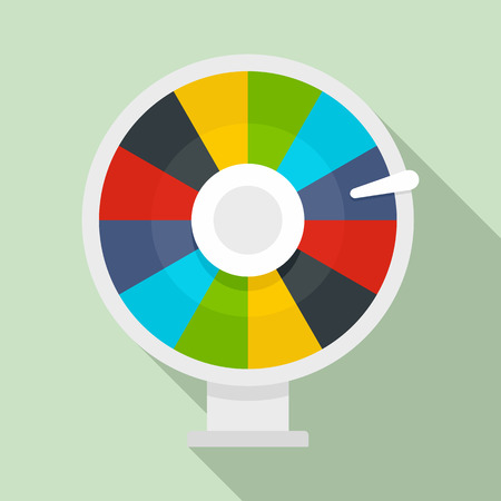 Color lucky wheel icon. Flat illustration of color lucky wheel vector icon for web design 向量圖像