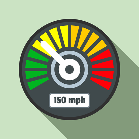 Colorful speedometer icon. Flat illustration of colorful speedometer vector icon for web design