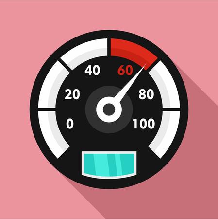 Motor bike speedometer icon. Flat illustration of motor bike speedometer vector icon for web design