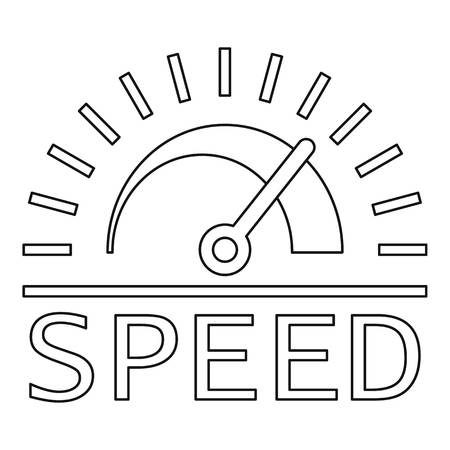 Logotipo del tablero de velocidad. Esquema del logotipo de vector de tablero de velocidad para diseño web aislado sobre fondo blanco.