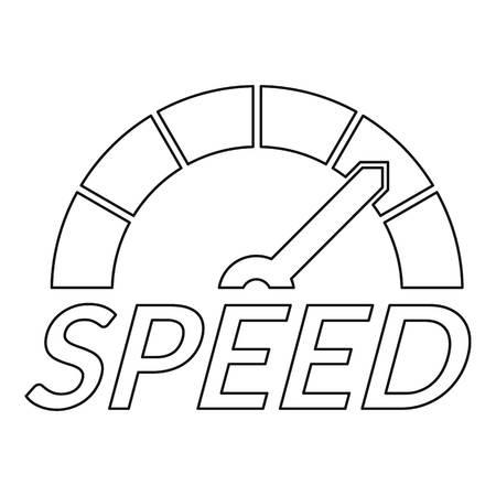 Speedometer design logo. Outline speedometer design vector logo for web design isolated on white background