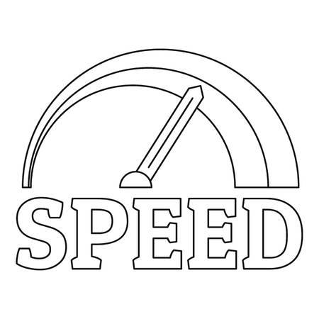 Fire speedometer logo. Outline fire speedometer vector logo for web design isolated on white background