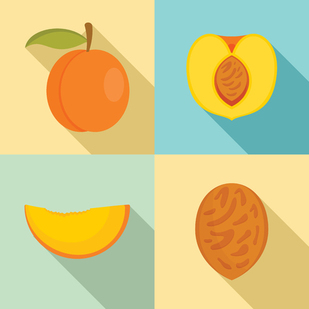 Peach tree slices fruit half icons set, flat style Stock Illustratie