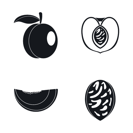 Peach tree slices fruit icons set, simple style Stock Illustratie
