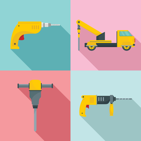 Drilling machine rig electric icons set. Flat illustration of 4 drilling machine rig electric vector icons for web Illustration