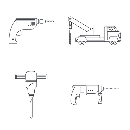 Drilling machine rig electric icons set. Outline illustration of 4 drilling machine rig electric vector icons for web