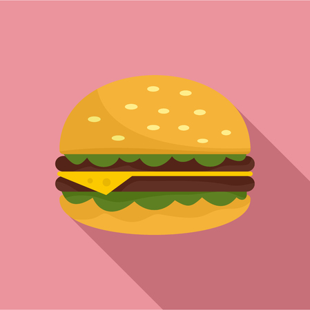 Unhealthy burger icon. Flat illustration of unhealthy burger vector icon for web design
