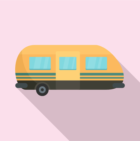 Summer camp trailer icon, flat style