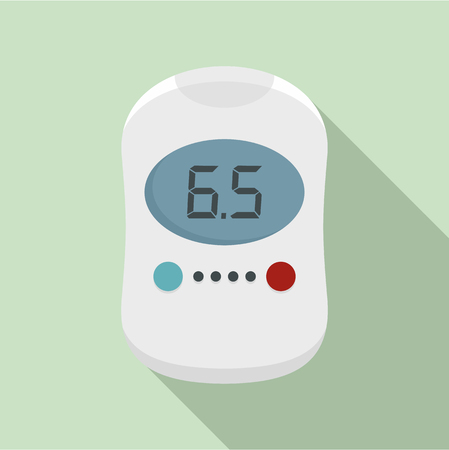 Modern glucose meter icon, flat style