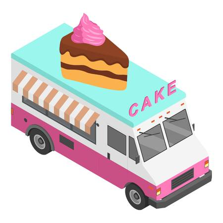 Cake truck icon. Isometric of cake truck vector icon for web design isolated on white background