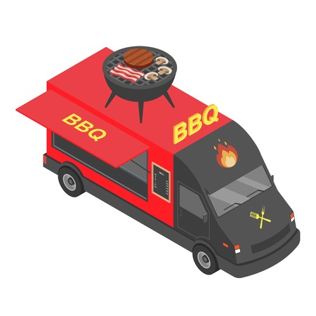 Bbq truck icon. Isometric of bbq truck vector icon for web design isolated on white background