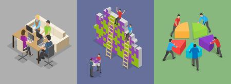 Ensemble de concept de bannière de formation au travail de construction d'équipe. Illustration plate de 3 concepts de bannière de formation au travail de consolidation d'équipe pour le web