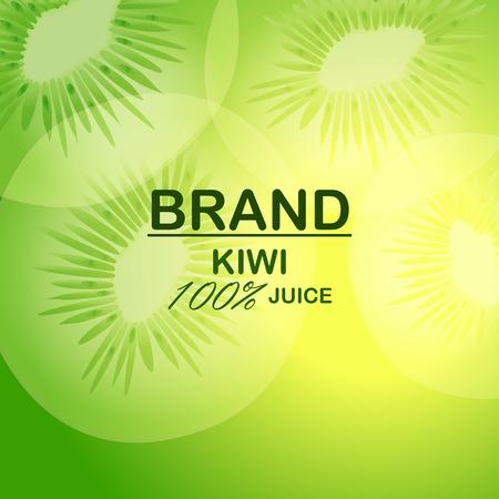 Natural kiwi juice concept background, realistic style Illustration